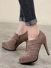 Women Ankle Boots Coffee Brown Leather Pointed Toe Metal Details Stiletto Heel Short Boots