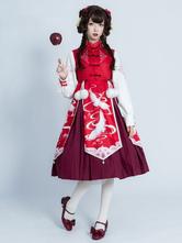 Chinese Style Lolita OP Dress Crane Print Pom Poms Bows Qi Lolita One Piece Dresses