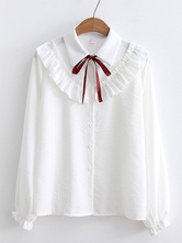 Sweet Lolita Shirt Ruffles Bows Long Sleeves Lolita Top