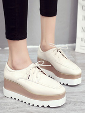 Stylish Oxfords Round Toe Leather Front Lace Rubber Round Toe Oxfords Shoes
