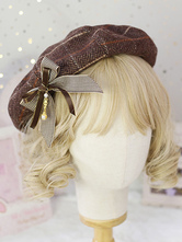 Chapéu de boina doce Lolita arcos chapéu de Lolita xadrez