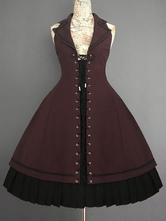 Vintage Gothic Lolita JSK Kleid Farron Covenant Lace Up Lolita Brücker-Rock