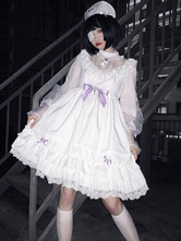 White Gothic Lolita OP Dress Ruffles Bows Cross Long Sleeves Lolita One Piece Dresses