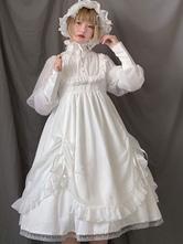 スウィートロリータドレスOPホワイトフリルジゴスリーブロリータワンピースドレス