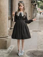 Sweet Lolita OP-Kleid Rüschen Bow Langarm-Lolita One Piece Kleider
