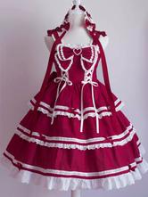 Lolita doce JSK vestido plissados arco rendas até saias de Jumper Lolita