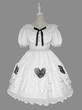 Vestido Lolita doce OP babados mangas curtas Lolita vestidos de uma peça