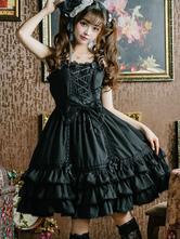 Lolita doce JSK vestido babados arcos atam Lolita Jumper saias