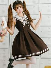JK Lolita vestido arco botão listra mangas Lolita Jumper saias