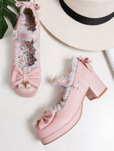 Sweet Lolita Pumps Pink Bows Lace Round Toe PU Leather Lolita Shoes