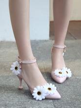 Calçado doce Lolita margarida rosa flores PU couro cálice calcanhar Lolita sapatos