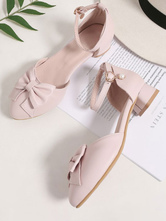 Sweet Lolita Footwear Pink Bows PU Leather Puppy Heel Ankle Strap Lolita Pumps