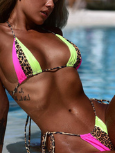 Bikini Swimsuits For Women Color Block Leopard Print Lace Up Straps Neck Backless Raised Waist Summer Beach Bathing Suits