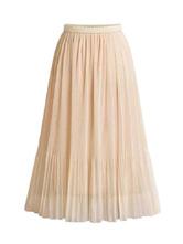 Saia para as Mulheres Apricot plissada Chiffon Comprimento Mid-bezerro Levantado cintura Maxi Mulheres Bottoms