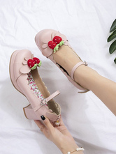 Sweet Lolita Footwear Strawberry PU Leather Chunky Heel Lolita Shoes