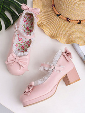 Sweet Lolita Footwear Pink Bows PU Leather Chunky Heel Lolita Pumps