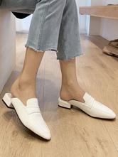 Scarpe slip-on da donna in pelle PU con zoccoli bianchi