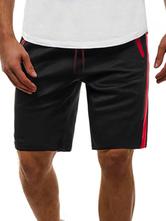 Pantalones cortos para hombres Bloque de color Cintura con cordón Verano Ciclismo Pantalones de playa negros