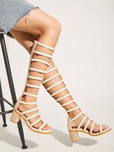 Sandálias de damasco gladiador PU couro quadrado Toe meados de salto sandálias chiques