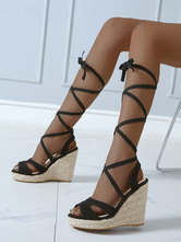 Wedge Sandals For Woman Attractive Round Toe Micro Suede Upper Ankle Cross Straps Wedge Sandals