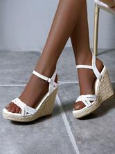 Keil-Sandalen für Frauen Wunderschöne runde PU-Sandalen aus PU-Leder