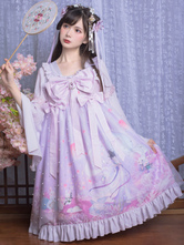 Chinese Style Lolita OP Dress Changer Flying To The Moon Lavender Bows Lolita One Piece Dresses