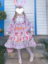 Sweet Lolita OP Dress Cute Bunny Afternoon Tea Ruffles Lolita Vestidos de una pieza