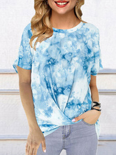 Short Sleeves Tees Tie Dye Jewel Neck Women T Shirt