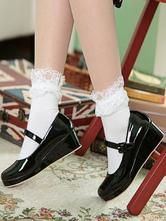 Sweet Lolita Shoes Wedge Round Toe Patent PU Lolita Pumps