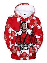 Fasching Geld Überfall Hoodie Dali Rot La Casa De Papel Print Kapuzenpullover