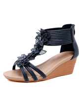 Wedge Sandals For Women Beautiful Floral Print PU Leather Skid Resistant