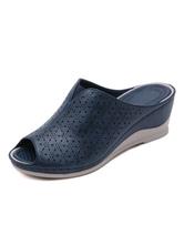 Sandálias de cunha para mulheres Lindo em relevo Couro PU
