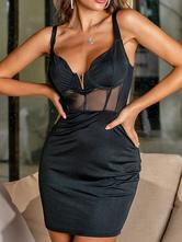 Vestidos ajustados sexy Vestido estilo tubo sin mangas transparente estilo corsé