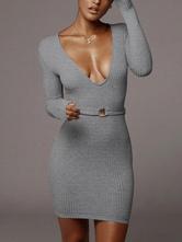 Robes pull pour femmes Robes moulantes sexy à manches longues Robe fourreau à col en V