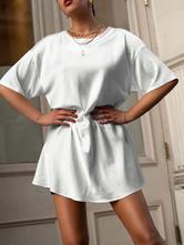T-Shirt Kleider Kurzarm Juwelenhals Sommerkleid