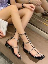 Sandálias de gladiador preto PU Leather Square Toe Rhinestones Women Shoes