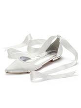 Scarpe da sposa avorio Scarpe da sposa piatte in raso con punta a punta Scarpe da sposa
