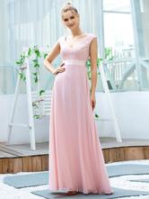 Вечернее платье А-силуэт с V-образным вырезом и кружевным лифом длиной до пола без рукавов спинки из полиэстера Вечерние платья