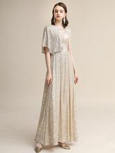 Вечернее платье A-Line Холтер Матовый атласное платье длиной до пола Блесток Вечерние платья