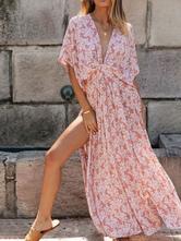 Femmes Maxi Robes Col V Demi Manches Imprimé Floral Découpé Fente Robe Longue D'été