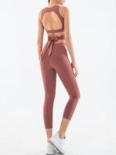Женский спортивный костюм йоги без шеи с леггинсами