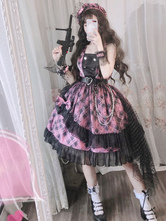 Pink Lolita JSK Dress Plaid Bows Ruffles Lolita Jumper Faldas
