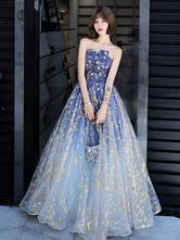 Вечернее платье A-Line без бретелек Матовое атласное длиной до пола, плиссированное платье для выпускного с блестками