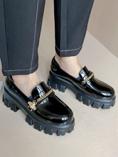 Schwarze Flatform Slipper Frauen Runde Zehen Metall Detail Slip On Schuhe Freizeitschuhe