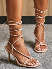 Sandales à talons hauts abricot bout ouvert talon aiguille à lacets sandales chaussures pour femmes