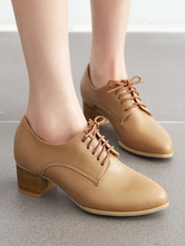Women Oxford Shoes Classic Round Toe Leather Lace Up Block Heel Casual Shoes