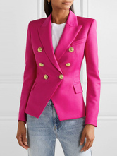 Women Blazer Rose Turndown Collar Long Sleeves Buttons Short Jackets