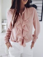 Camicia casual da donna a maniche lunghe in chiffon con volant a cascata in camicetta rosa