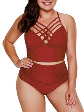 Women Two Piece Swimsuits Burgundy Cut Out V-Neck Natural Waist Summer Sexy Swimming Suits