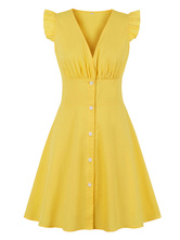 Vintage Dress 1950s V-Neck Yellow Buttons Short Sleeves Knee Length Rockabilly Dress